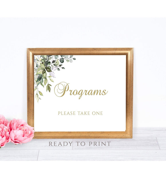 Wedding program sign wedding ceremony programs sign Please take one programs wedding sign Greenery Gold Instant Download Printable PDF G1s - You Can Print