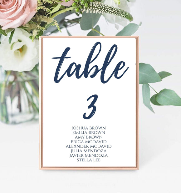 Wedding Seating Chart Navy Blue Table Numbers printable Table Numbers Template Seating chart Template Instant Download party place card, BB - You Can Print