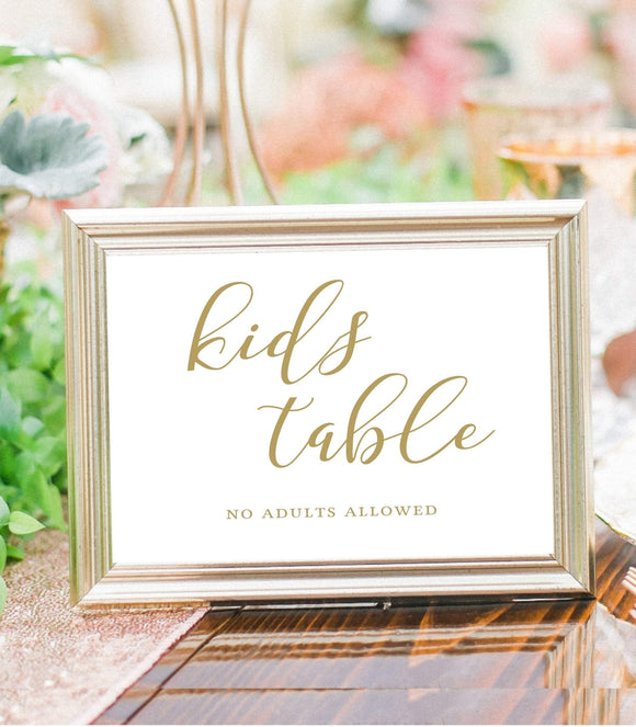 Wedding Table kids Sign printable Template kids seat DIY Wedding kids place calligraphic kids table gold party sign instant download kid SHG - You Can Print