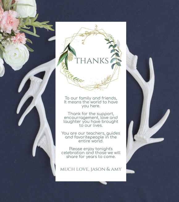 Wedding Thank You Note Instant Download, Wedding Favor Card, DIY Printable Decorations,Printable wedding cards,Editable wedding,Greenery, GG - You Can Print