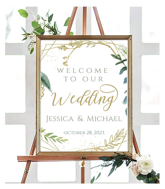 Wedding Welcome printable Wedding Poster instant download Modern minimalist welcome to wedding gold editable calligraphy wedding sign, GG - You Can Print