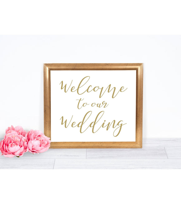 Welcome Wedding Template sign Wedding Welcome Wedding Sign gold Welcome Sign printable Welcome Wedding gold sign wedding reception 10x8, SHG - You Can Print