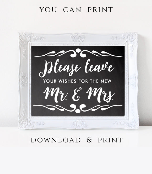 Well Wishes wedding Please Leave Your Wishes printable Advice Sign Marriage Wishing Well Sign instant download party Wedding horizontal CH - You Can Print