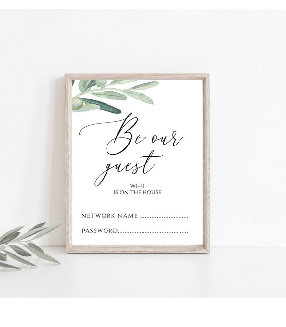 Wi Fi Is On The House Sign Be Our Guest Wi Fi Password Sign Greenery WIFI Password Sign Instant Download Printable Pdf Jpg 8x10 Vertical VO - You Can Print