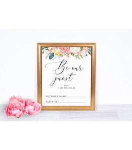 WI-Fi Sign Printable Password Wi-Fi Sign Instant Download Be Our Guest Peach Blush Printable party internet sign digital wedding internet,PB - You Can Print