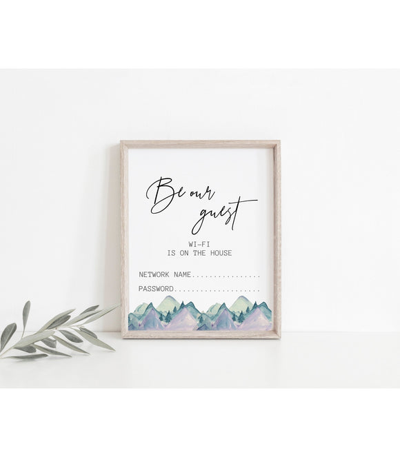 WiFi Password Sign, Be Our Guest WiFi Sign Template, WiFi Password Printable  8x10, WiFi Printable Rustic Mountains Modern Scandinavian art - You Can Print