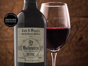 Halloween Wine Labels Printable Digital Download editable Funny Halloween Wine Stickers, BL