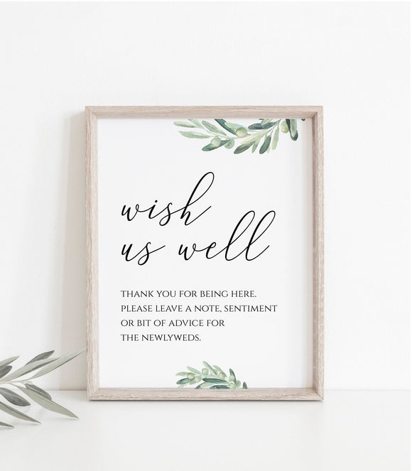 Wishing Well Sign, Greenery Calligraphy Printable Wedding,Party Signs, Reception Sign, Instant Download JPG, PDF 8x10, VO - You Can Print