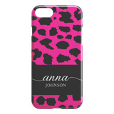 Personalised Name Custom Animal Print Phone Case Pink