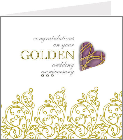 hopscotch hearts golden wedding anniversary card