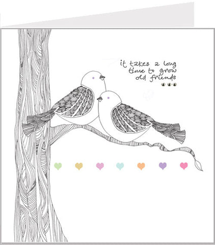 greetings card, it takes a long time to grow old friends
