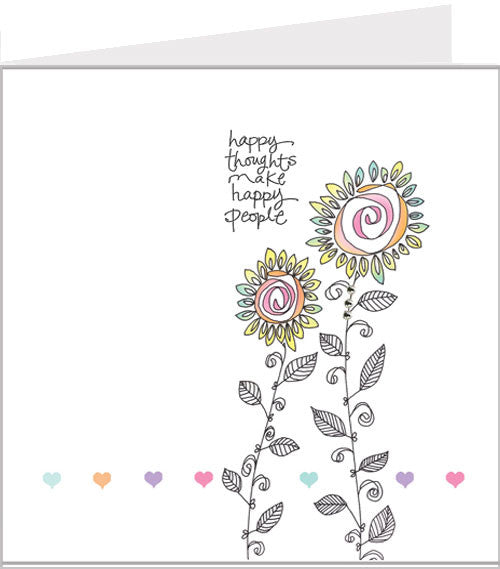 hand made greetings card, happy thoughts 48-007