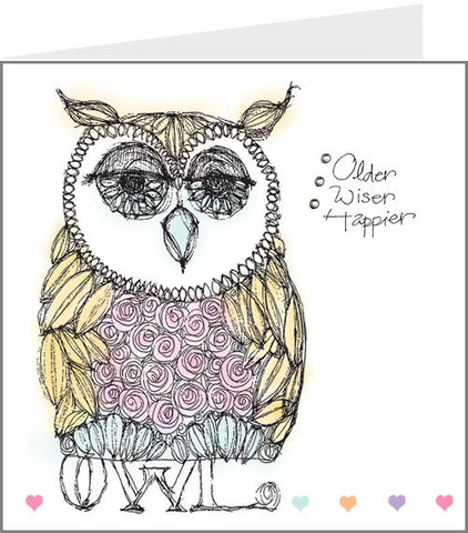 Older, Wiser, Happier Owl card