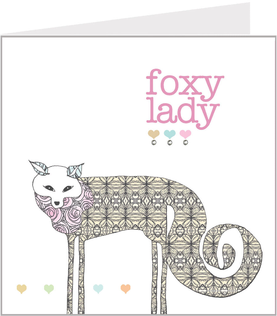 Hand made greetings card - foxy lady by Valerie Valerie