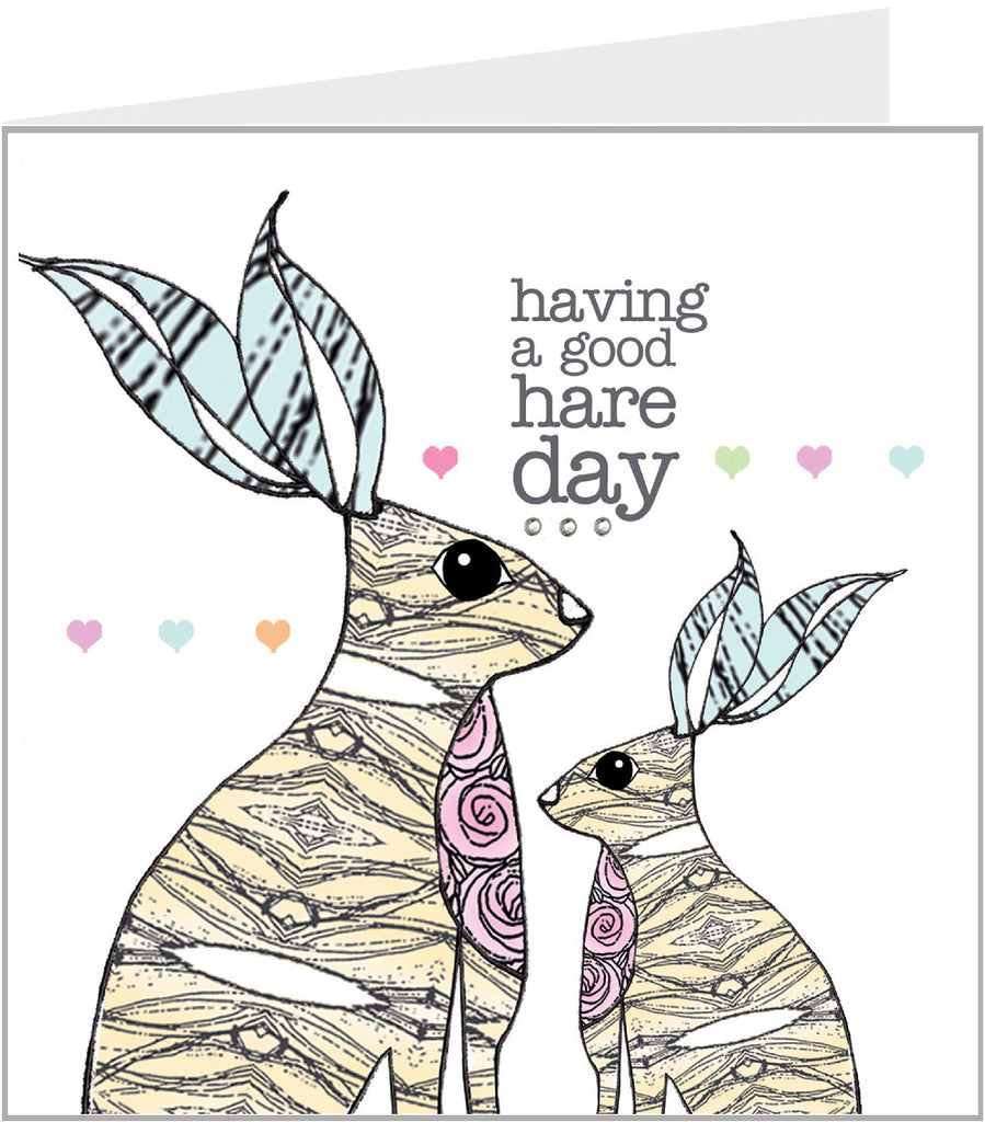 A Valerie valerie hand made card - Good hare day