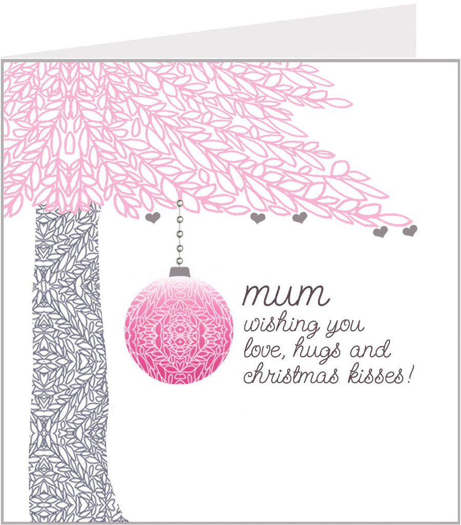 Pink Tree Christmas card by valerie valerie