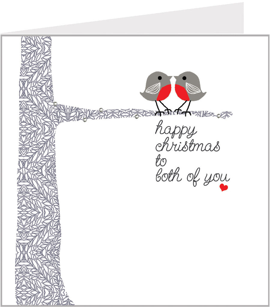 Christmas card with two robins, by valerie valerie