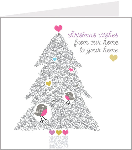 Christmas card with Christmas tree, by valerie valerie