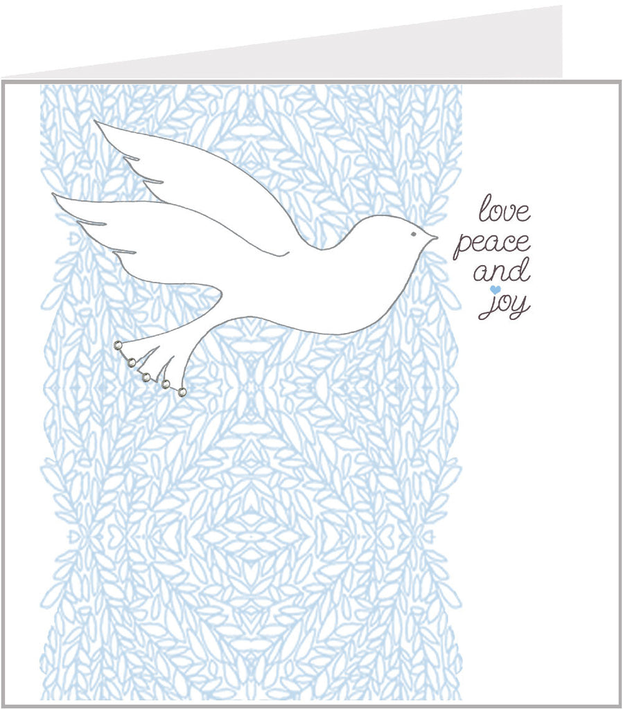 Christmas card with peaceful dove, by valerie valerie