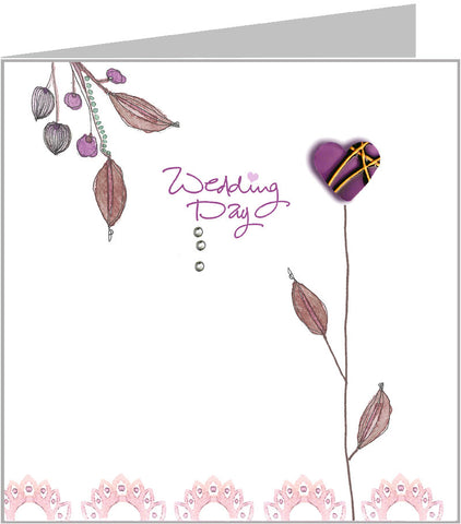 Wedding card with hopscotch single bloom design