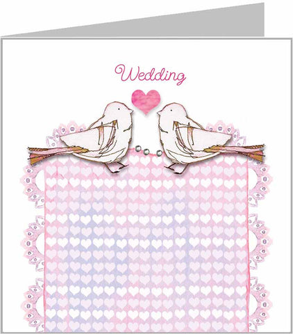 Valerie Valerie wedding card with lovebirds