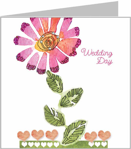 Valerie Valerie wedding card with flower and crystals
