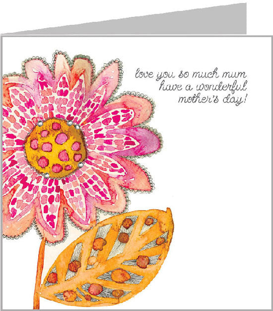 Red Sunflower Mother's Day Card by Valerie Valerie