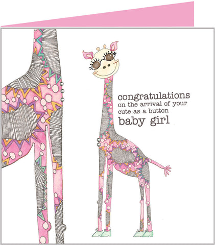 Cute new arrival card with pink giraffes from Valerie Valerie