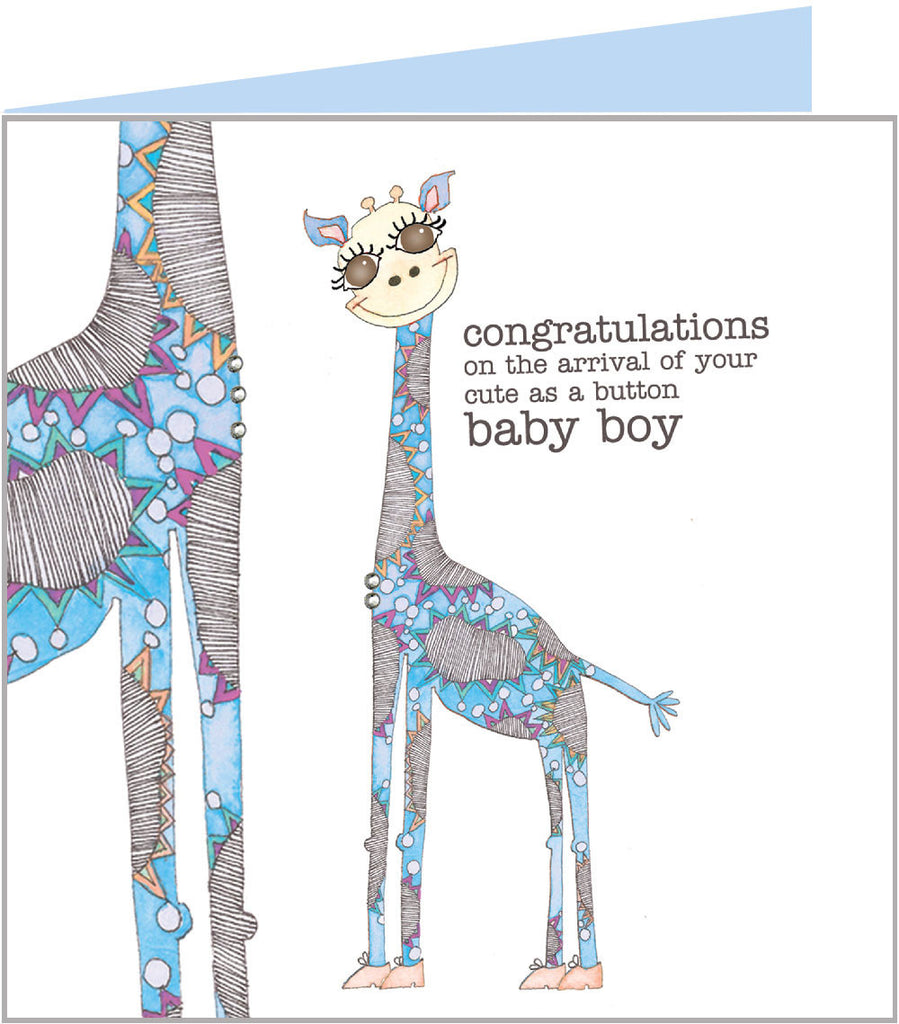 Cute new arrival card with blue giraffes from Valerie Valerie