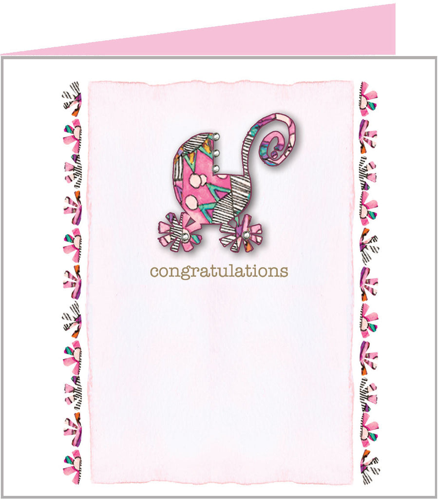 New arrival card with pretty pink pram by Valerie Valerie