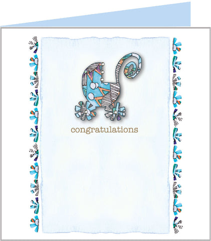 New arrival card with pretty blue pram by Valerie Valerie