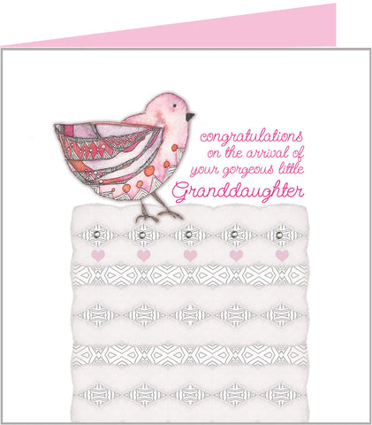 Jazzy Pink Bird, new granddaughter card by Valerie Valerie