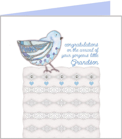 Jazzy Blue Bird, new grandson card by Valerie Valerie