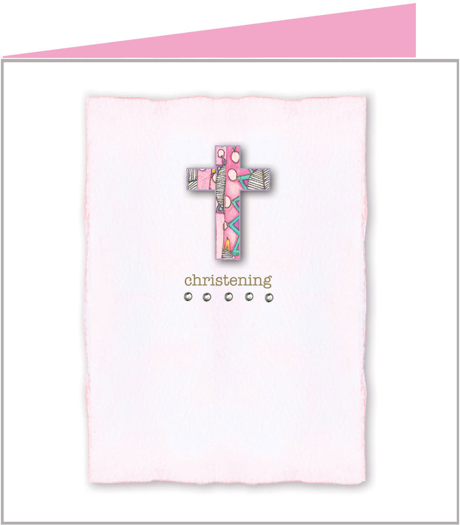 Christening card with pink cross by Valerie Valerie