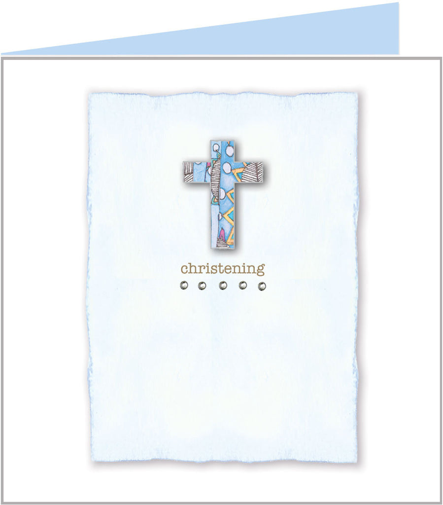 Baby Jazz - Blue cross, christening card by Valerie Valerie