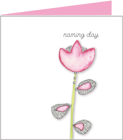 Pink lotus flower naming day card for a girl by Valerie Valerie