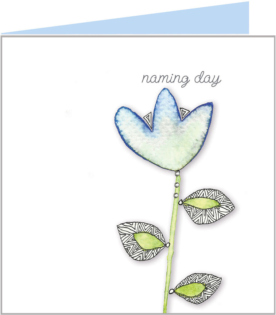 Blue lotus flower naming day card for a boy by Valerie Valerie