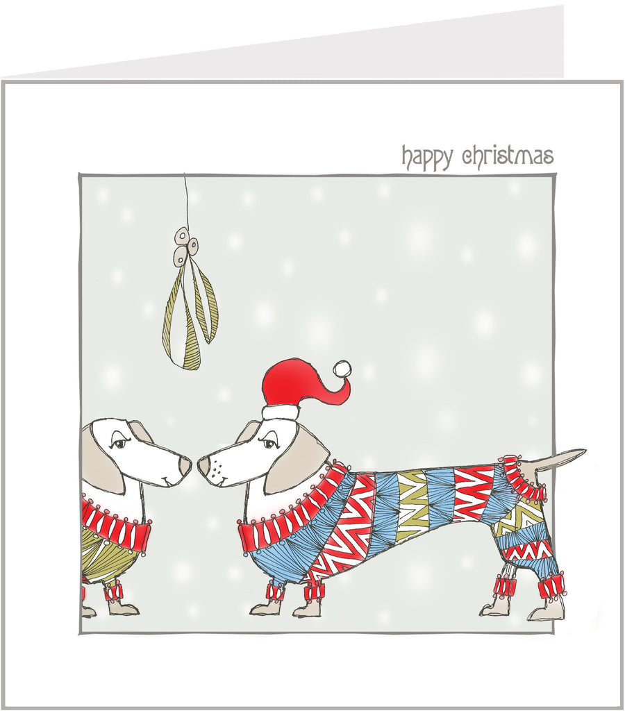 Jazzy Sausage Dogs hand made Christmas card by Valerie Valerie