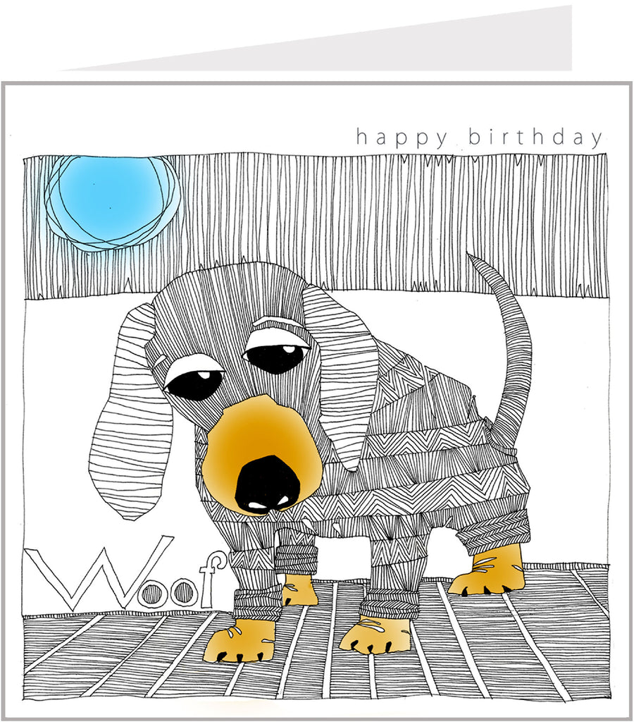 Zig Zag Sausage Dog Birthday Card by Valerie Valerie