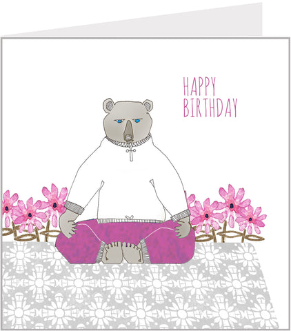 birthday card with yoga bear