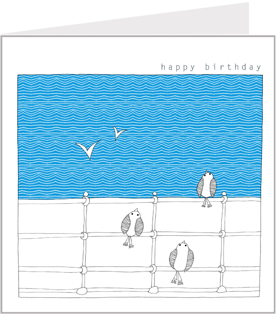 Birds Watching Seagulls birthday card