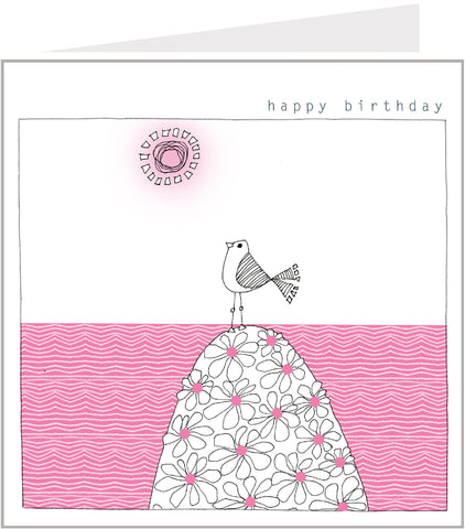 Little Birds Birthday Card - On a flowery hill by Valerie Valerie