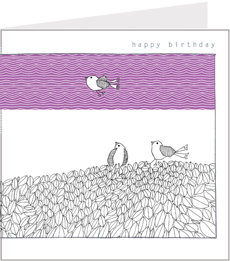 Birds on a Pile of Leaves birthday card