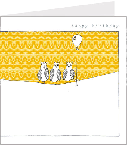 Little Birds Birthday Card - On a washing line by Valerie Valerie