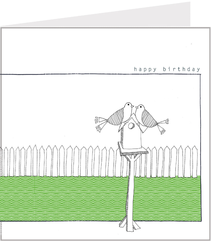 Little Birds Birthday Card - On a bird table