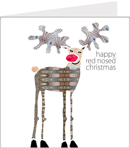 Christmas Trimmings, red Nosed Reindeer Christmas Card