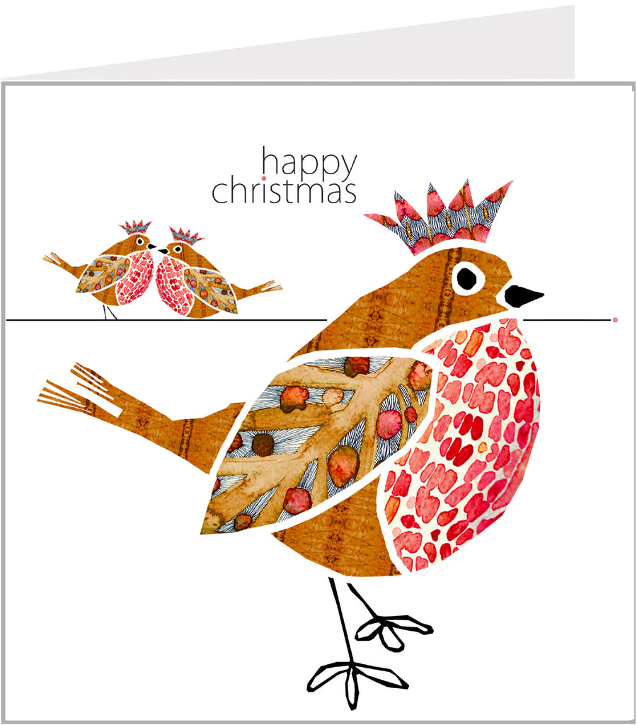 Robins with Crowns christmas card