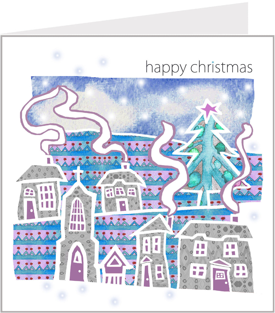 Christmas Trimmings, Snowy Village Christmas Card