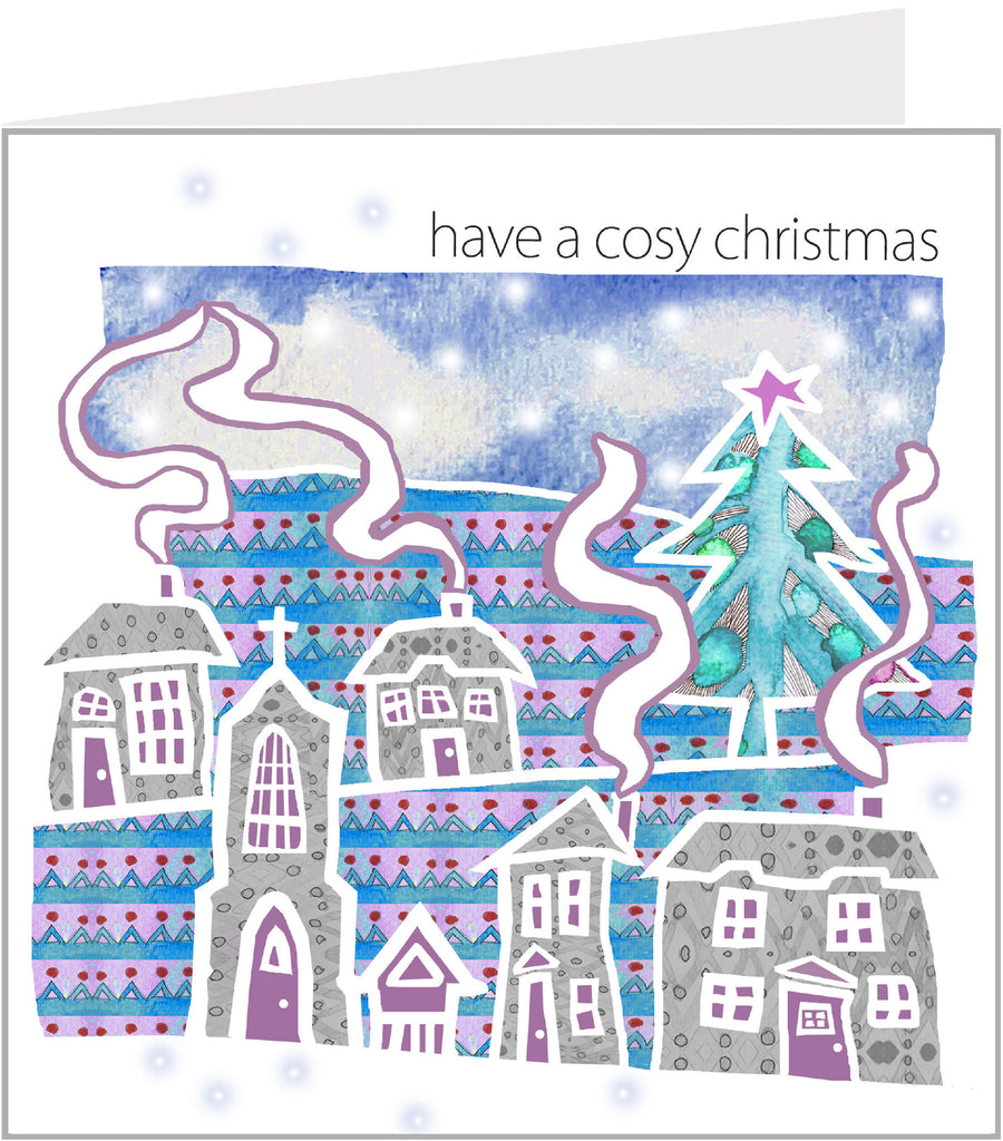 Christmas Trimmings, Cosy Snowy Village Christmas Card