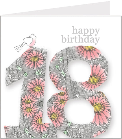 Daisy Bird 18th Birthday Card